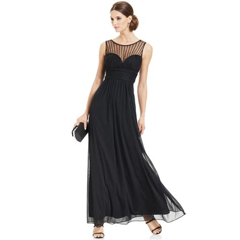 xscape beaded illusion gown xscape sleeveless illusion sweetheart gown in black
