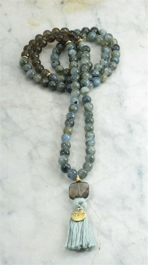 mala bead friendship mala 108 kyanite and smoky quartz mala