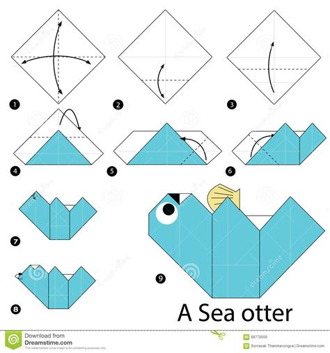 otter origami step by step how to make origami a sea otter