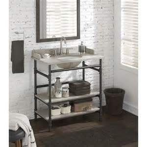 bathroom vanity open shelf use rattviken sink top with pipe fittings 36 inch