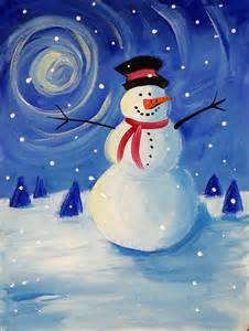paint nite snowman 40 easy canvas painting ideas for