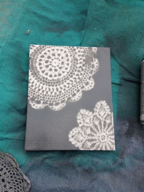 spray paint on paper tutorial 7 spray painted doily canvas shey b