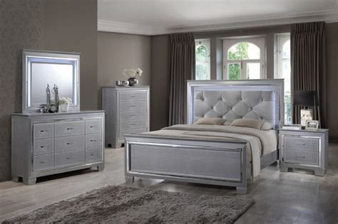 martina silver bedroom set led lights