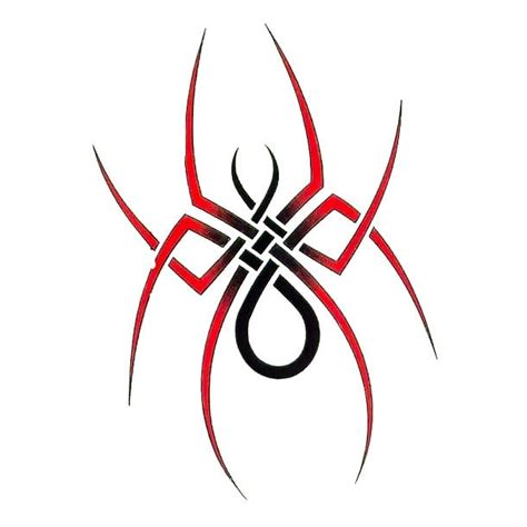 red simple tribal spider tattoo design