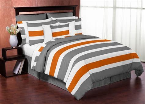 gray and orange comforter set gray and orange stripe 4pc bedding set