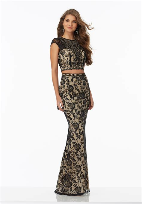 beaded bodice prom dress two lace prom dress with beaded bodice style 99065
