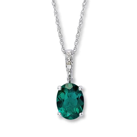 emerald necklace lab created emerald necklace with 10k white gold