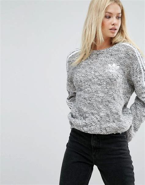 adidas knit sweater adidas adidas originals three stripe chunky knitted sweater