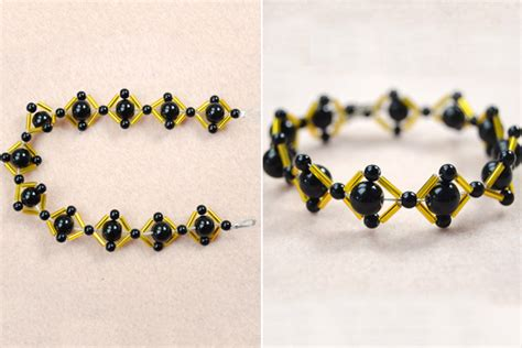 black and gold bead bracelet how to make a fashion rhombus bracelet for office