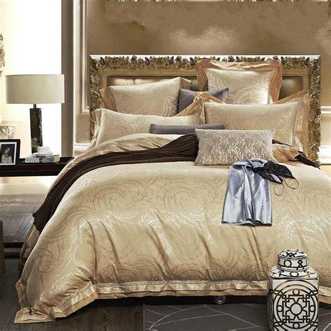 gold bedding sets king 2015 new luxury satin silk jacquard bedding set gold 6pcs