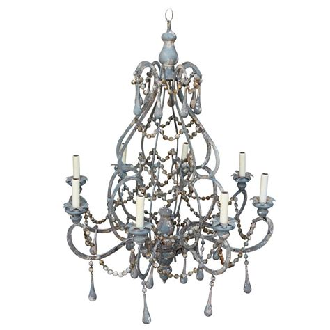 wood beaded chandelier iron and wood beaded eight light painted chandelier at 1stdibs