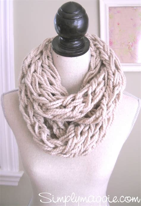 diy arm knitting infinity scarf how to arm knit tutorial including