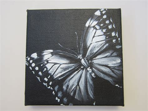 acrylic paint on black canvas original square canvas acrylic painting black and white