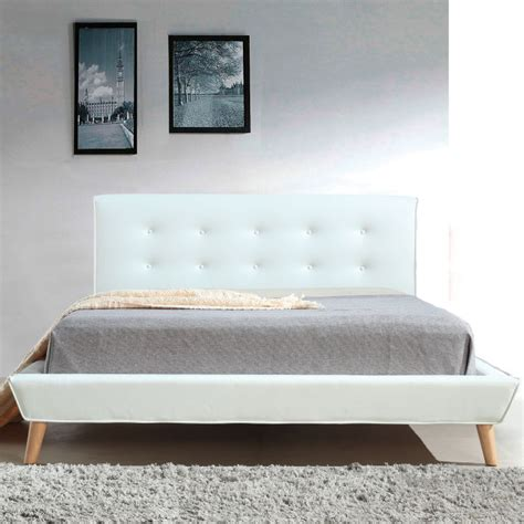 pu bed frame button tufted pu leather bed frame in white buy