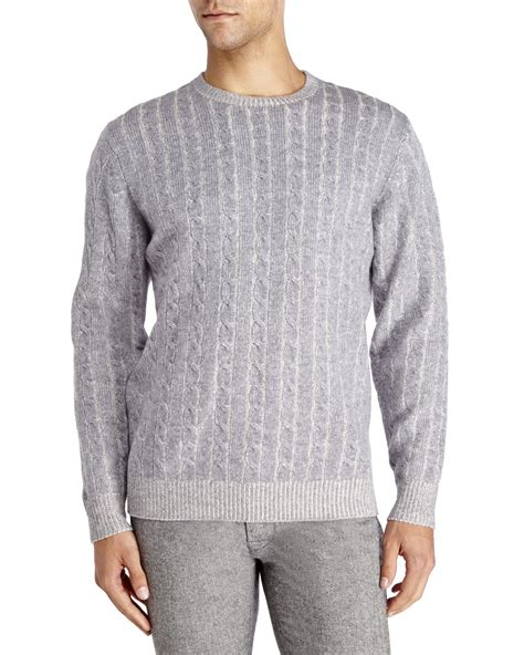 gray cable knit sweater mine gray plaited cable knit wool sweater for lyst