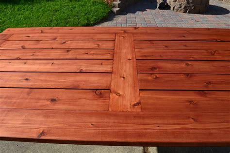 cedar patio table bryan s site the finished diy cedar patio table
