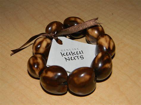 kukui nut hawaiian kukui nut bracelet with brown ribbon with tag