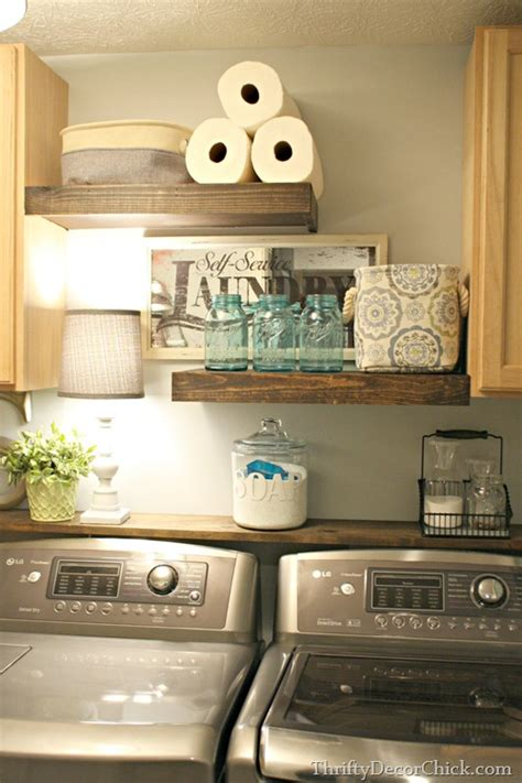 laundry room shelves and storage diy wood shelving laundry storage from thrifty decor