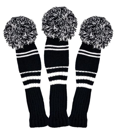 knit golf club headcovers premium knitted pom pom golf club headcovers black white