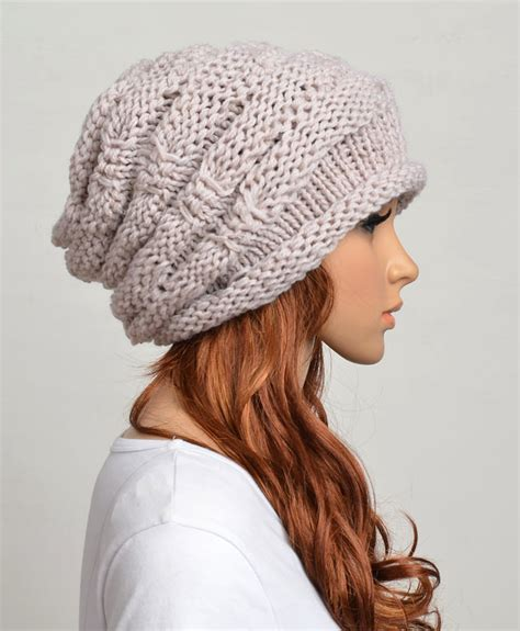 knitting hat slouchy handmade knitted hat clothing cap beige on
