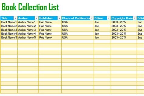 picture book database book tracking list template for excel 174 dotxes