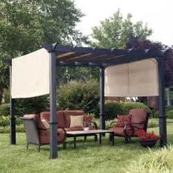 lowes pergola canopy shop garden treasures matte black steel freestanding