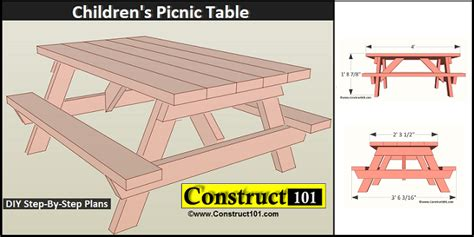free picnic table plans children s picnic table plans pdf construct101