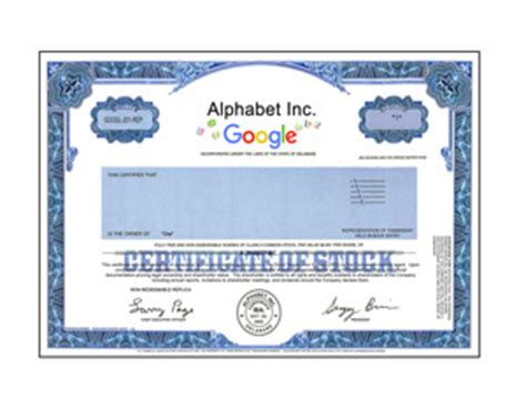 mcdonalds stock certificate one real share of alphabet inc google stock in 2