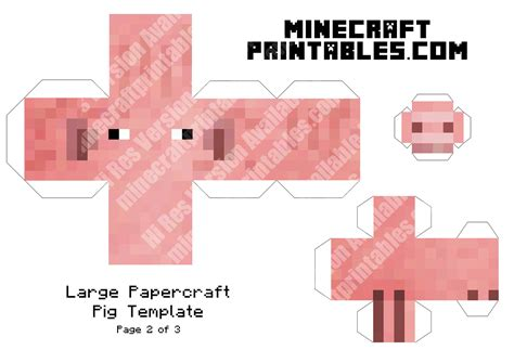 print out paper crafts pig printable minecraft pig papercraft template