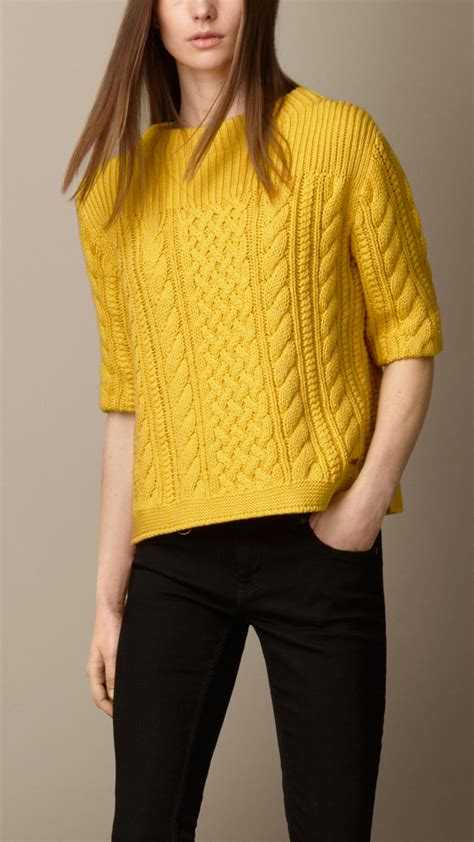 cable knit sweater burberry cotton blend cable knit sweater in yellow lyst