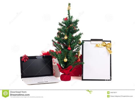 computer tree decorated tree computer and gift list on white