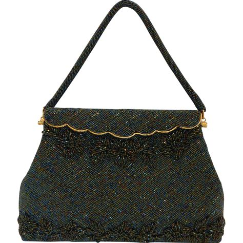 vintage beaded purse vintage green beaded bag handbag purse mint from