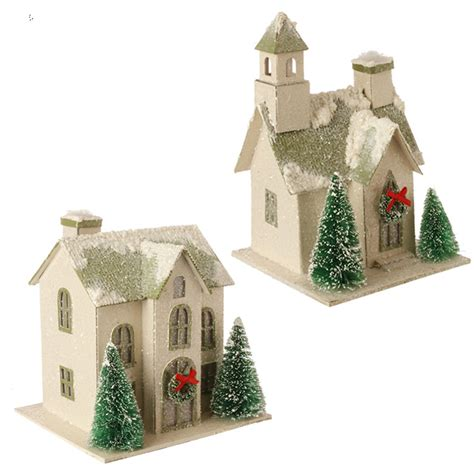 home ornaments raz snowy putz house ornaments set of 2