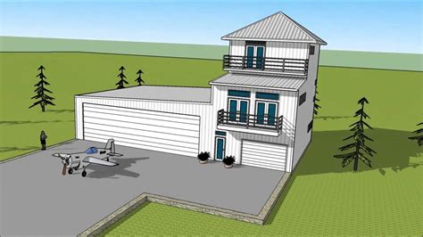 Metal Building Floor Plans With Living Quarters metal building three story condo attached to airplane