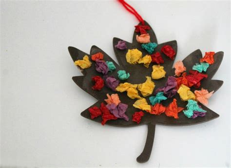 paper fall crafts scrunched tissue paper autumn leaf fall craft in the