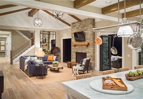 kitchen family room open floor plan stylish family home with transitional interiors home