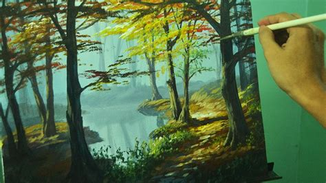 acrylic painting forest tutorial acrylic landscape painting tutorial autumn in forest by