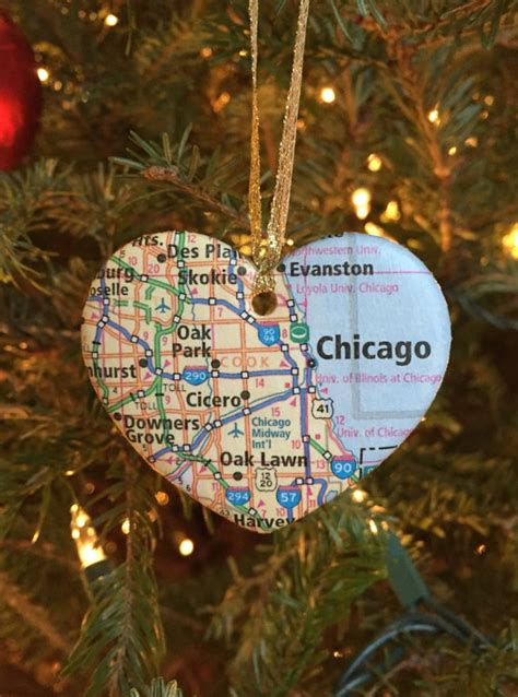 map ornaments chicago map ornament
