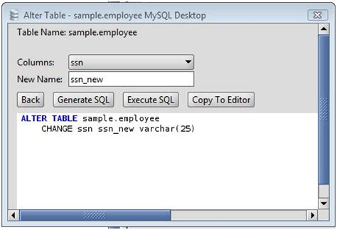 sql query to change table name mysql rename a column on an mysql database table using the