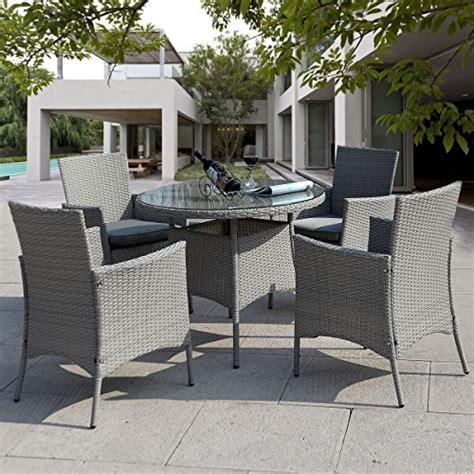 gray patio furniture sets giantex 5 pc patio rattan furniture set outdoor backyard dining table and 4 chairs gray
