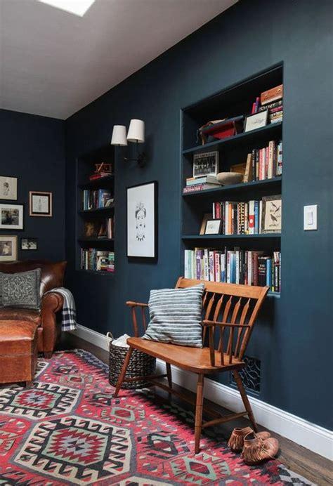 paint colors emily henderson emily henderson hague blue reading nook leather chair