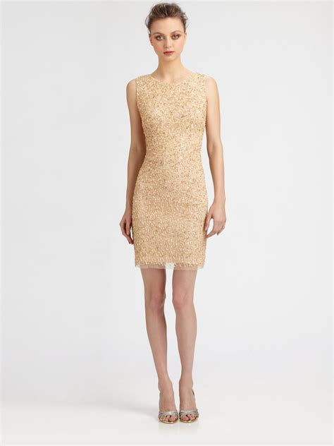 beaded gold dress aidan mattox beaded dress in metallic lyst