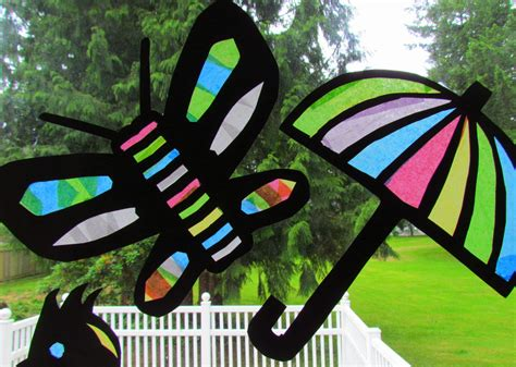 stained glass craft learn to grow suncatcher tissue paper craft stained