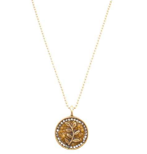 seed jewelry on the vine 14k gold pendant christian necklace mustard