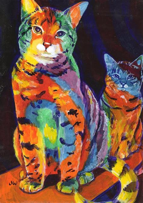 rainbow cat painting rainbow cats painting by june walker