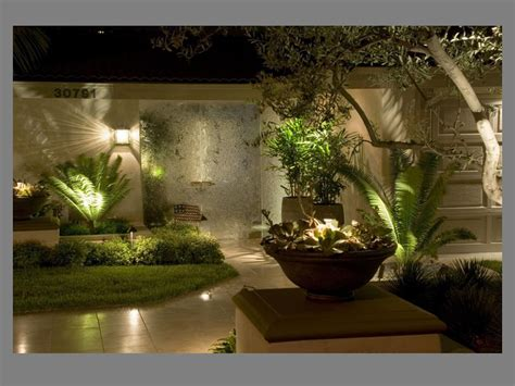 outdoor home lighting design shiny wall l tree front fresh grass right