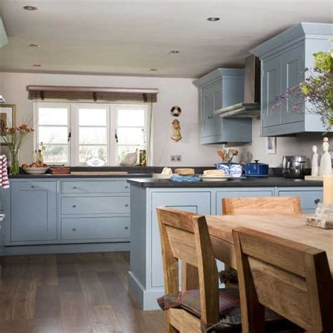 country kitchen diner ideas blue kitchen cabinets