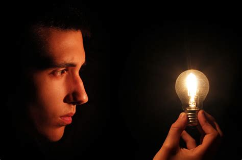 looking at lights creating a photo of a light bulb powered by the mind