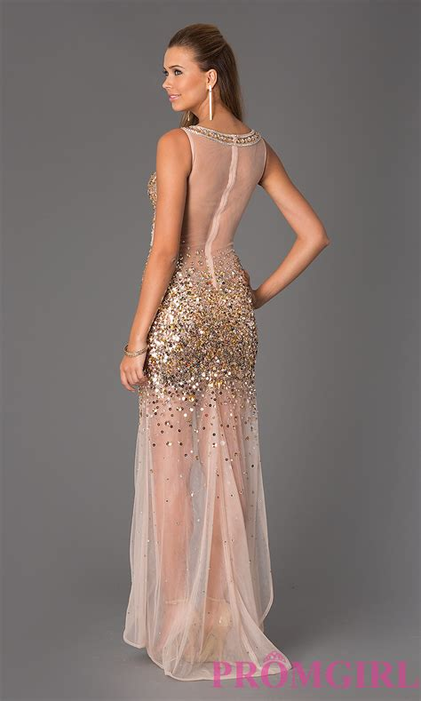 beaded prom dress sheer beaded jvn by jovani prom dress