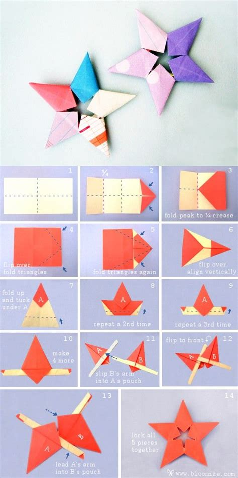 steps to make paper crafts sheriff steps折纸手工 五角星 警长星 的折法 origami crafts for